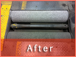 Photo of MOT Break Test rollers after re-surfacing