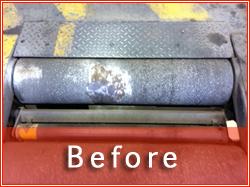 Photo of MOT Break Test rollers before re-surfacing